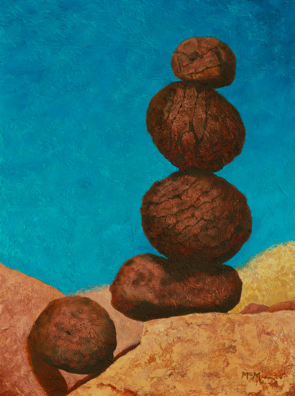 Moqui Marbles Rock Cairn Painting