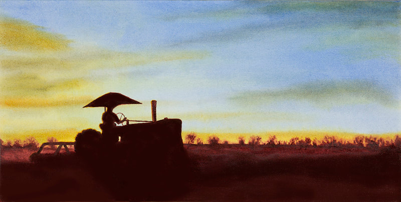 Cultivating Beans sunset 10X20 painting