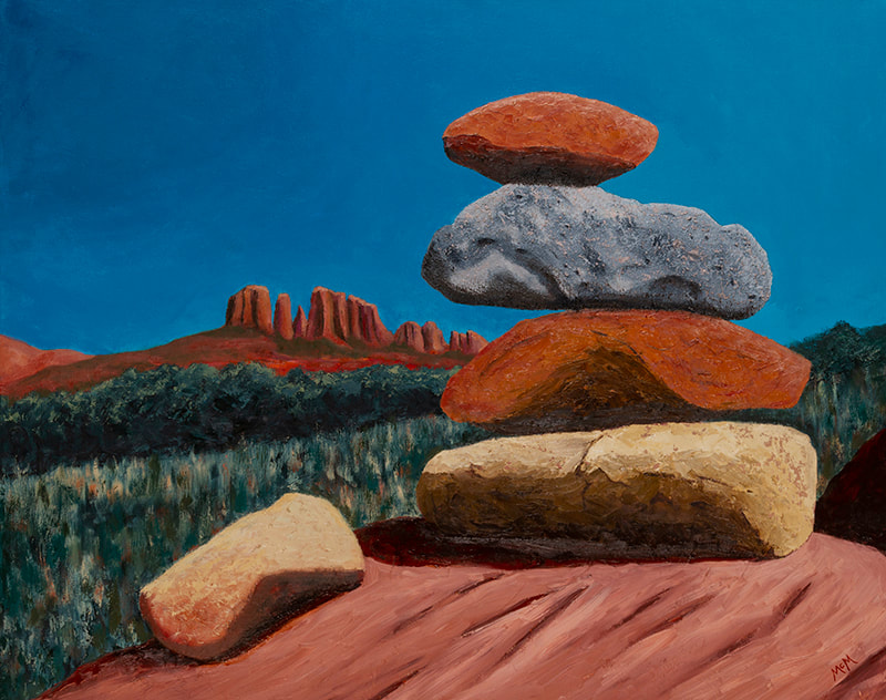 Energy Vortex, Sedona, rock cairn painting