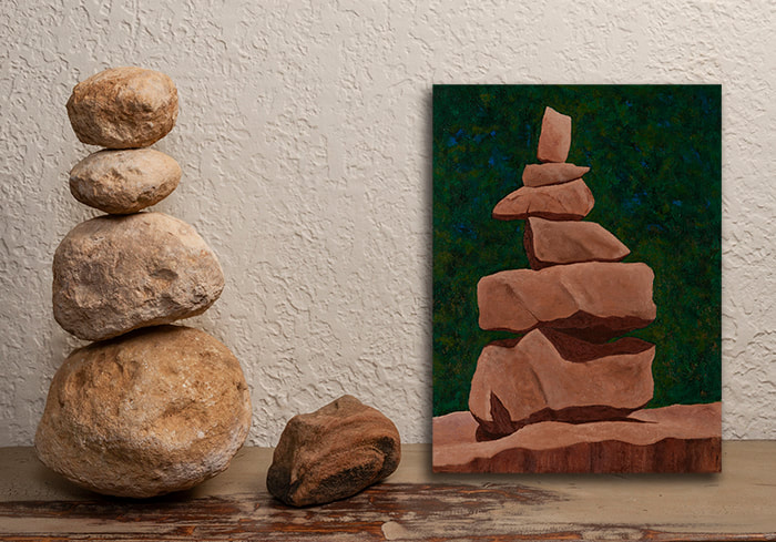 ELEPHANT ROCKS VII Cairn 12X16 painting