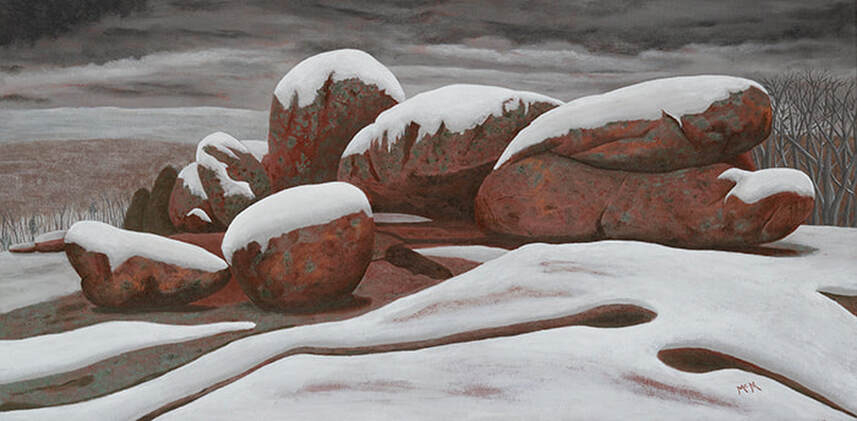 Wintering Elephant Rocks 12X24 Painting