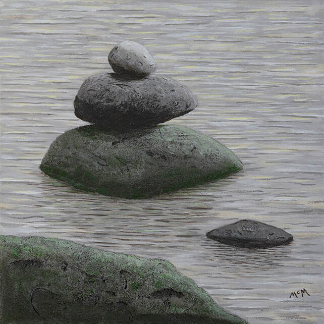 No Man is an Island rock cairn painting